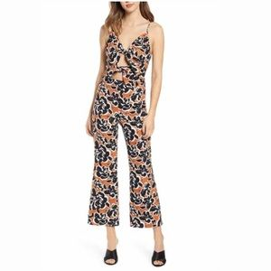 LEITH ADOBE INVERSE FLORAL TIE FRONT JUMPSUIT NWT